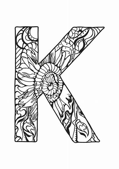 Coloring Letter Alphabet Zentangle Pages Letters Printable