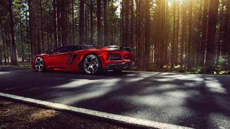 Trees Red Forest Cars Lamborghini Sunlight Roads