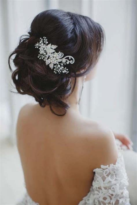 Messy Wedding Updo Hairstyle With Lace Hairpiece Deer