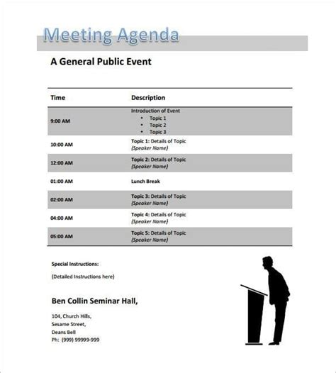 top   event agenda templates
