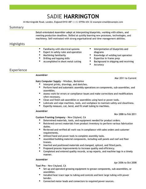 Assembler Description For Resume by Best Assembler Resume Exle Livecareer