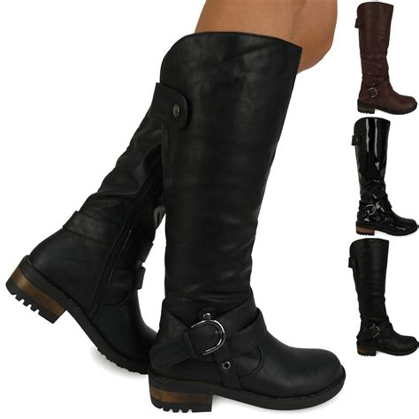 womens biker boots fashion d9z new womens ladies fashion winter mid calf under knee