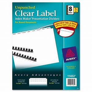 avery index maker clear label divider unpunched With avery easy apply 8 tab