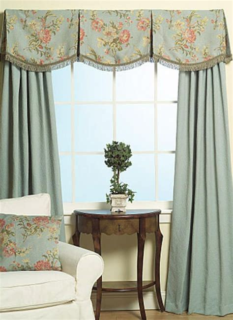 Bedroom Window Valances by Box Pleated Scalloped Floral Valance With Light Blue