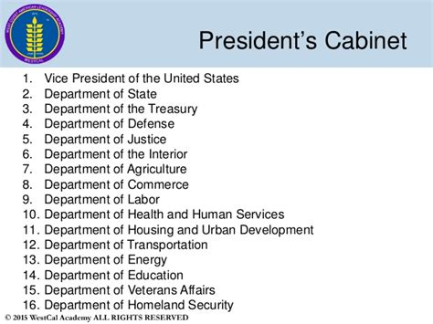 what are the 15 cabinet departments slide 7 westcal political science 1 us government 2015 2016