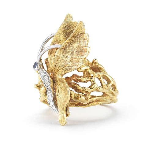 cartier 18k gold diamond adn sapphire butterfly ring for