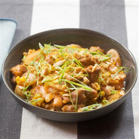 recipe spicy chicken korean rice cakes  sweet corn