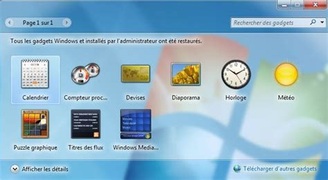 gadgets du bureau restaurer les gadgets du bureau installés avec windows