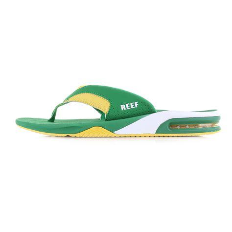 reef fanning mens size 10 mens reef fanning green yellow flip flops sandals shu size
