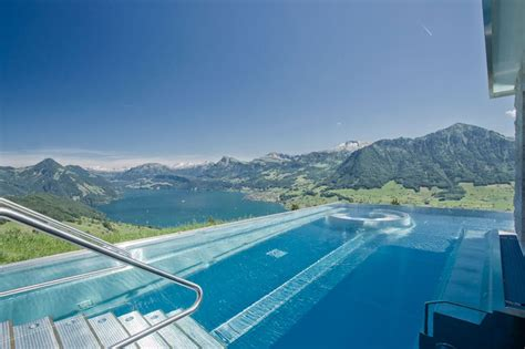 hotel villa honegg schweiz are calling this rooftop infinity pool in the swiss alps the stairway to heaven