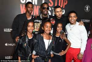 P Diddy poses for very rare photo with all SIX of his kids ...