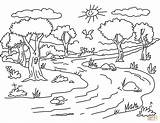 Coloring River Landscape Printable Drawing sketch template
