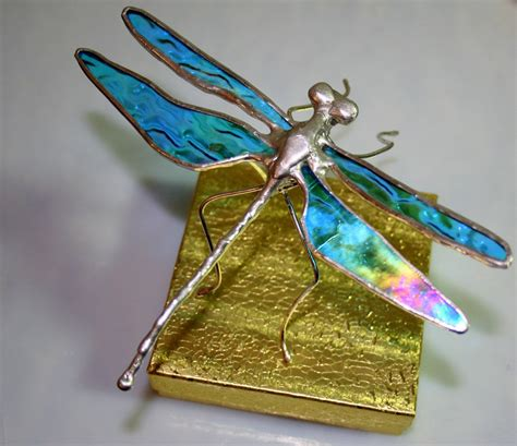 dragonfly stained glass l iridescent aqua stained glass dragonfly