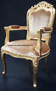 Franciscan Chair In Gilded Gold And Gold Velvet Dining Or
