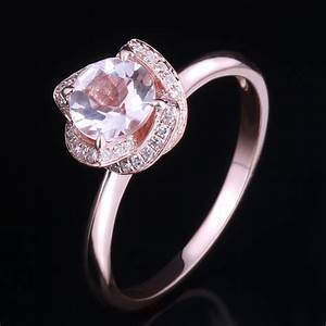 diamonds 10k rose gold 65mm round cut halo pink morganite With rose diamond wedding ring