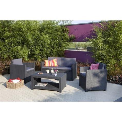 MONACO Salon de jardin 4 places aspect rotin tressu00e9 - Gris - Achat / Vente salon de jardin ...