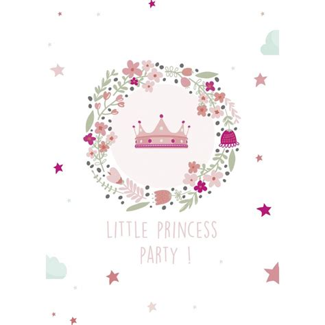 8 cartons d'invitation anniversaire princesse - Happy Family