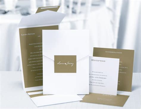 Green And White Custom Pocket Style Wedding Invitations