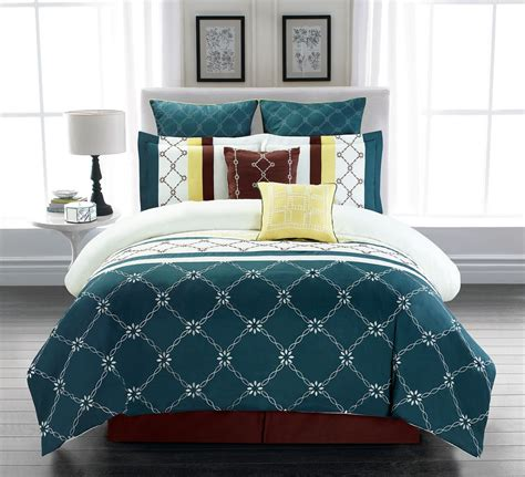 Teal Bedding by 8 Boyle Teal Ivory Comforter Set