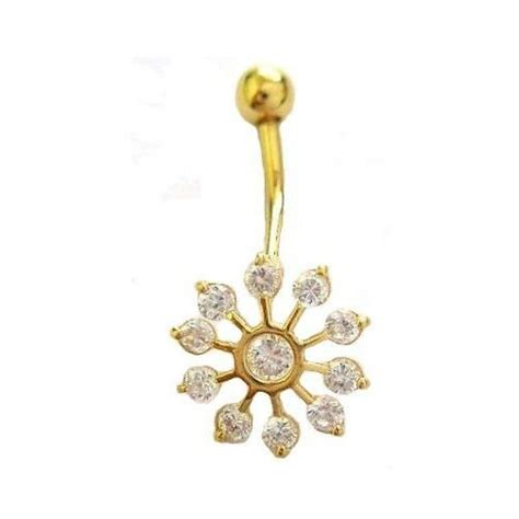 real  yellow gold snowflake belly button navel ring