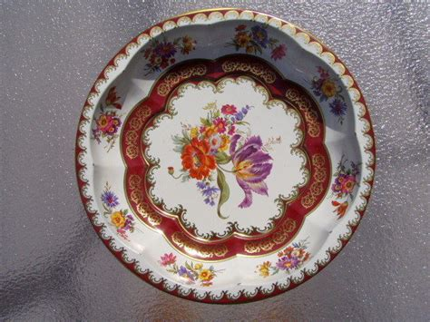 Daher Decorated Ware History by Vintage Daher Decorated Ware Floral Metal Bowl Tray Made