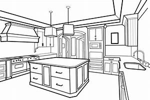 Drawn kitchen perspective - Pencil and in color drawn ...