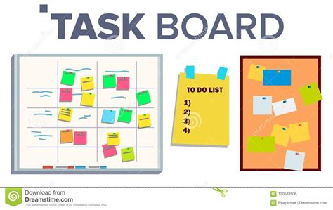 scrum task kanban board  sticky notes vector