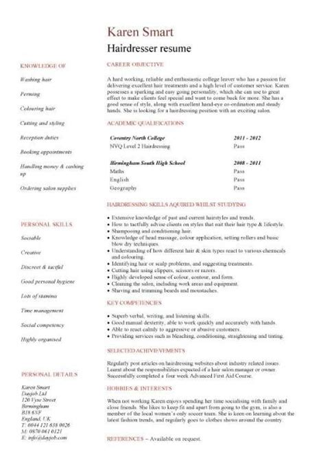 Hairdressers Resume by Student Resume Targeted At A Hairdresser Vacancy Cv
