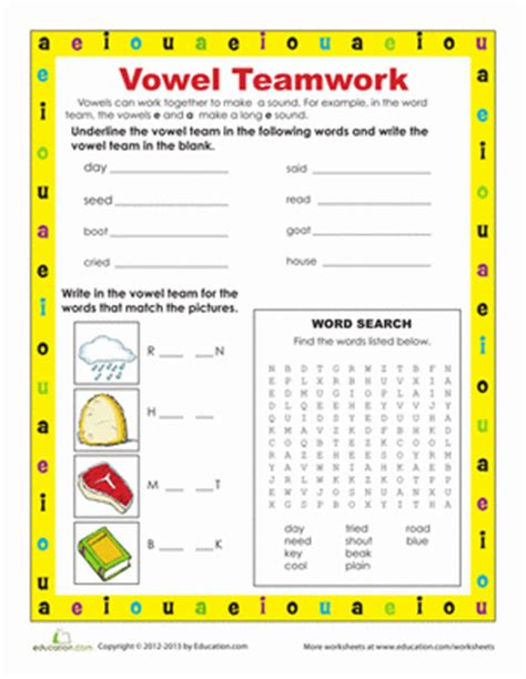 vowel worksheets for second grade vowel teams worksheet education
