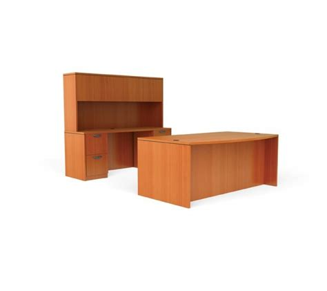 Free Standing Office Desk Set With Credenza And Hutch