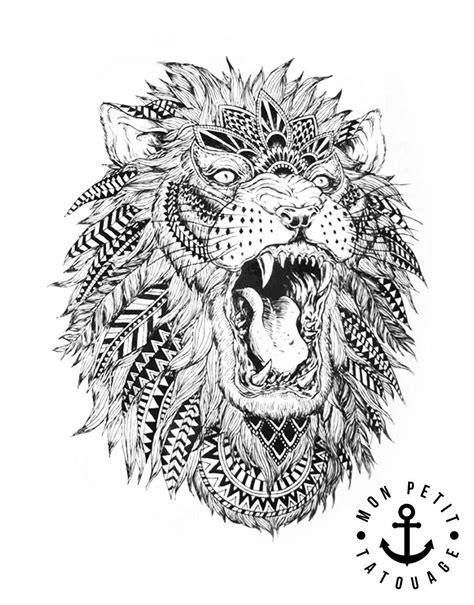tatouage tete de lion style boheme chic mon petit