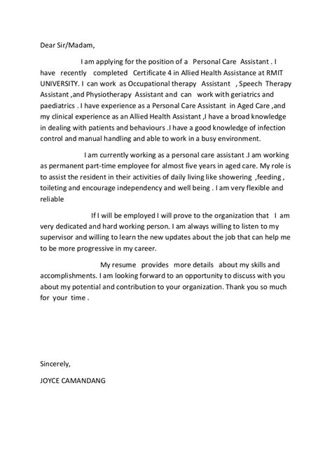 allied health assistance cover letter