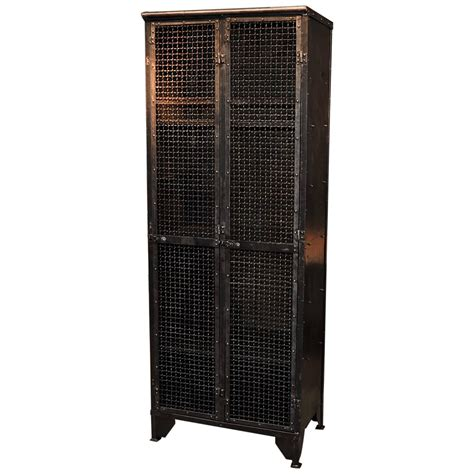 industrial storage cabinets with doors industrial 1900s french iron bookcase or cabinet with two