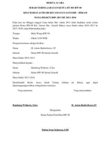 Contoh Surat Berita Acara Rapat by Contoh Surat Serah Terima Barang Sederhana Contoh Resource