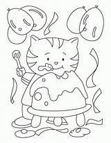Birthday Coloring Cake Cat Eating Pages Yummy Printable Drawing Printables Popular Getdrawings Comments Coloringhome sketch template