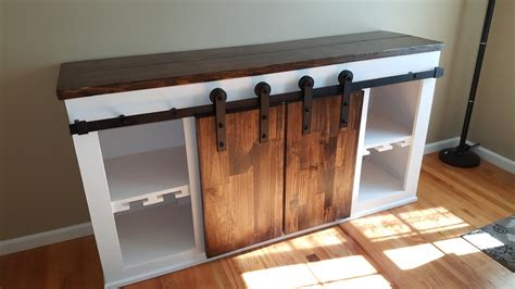 ana white sliding barndoor console sideboard diy projects