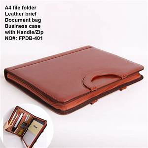 a4 business zipper leather portfilio manager document bag With leather document case with handle