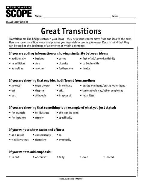 transition word worksheet middle school worksheets for all