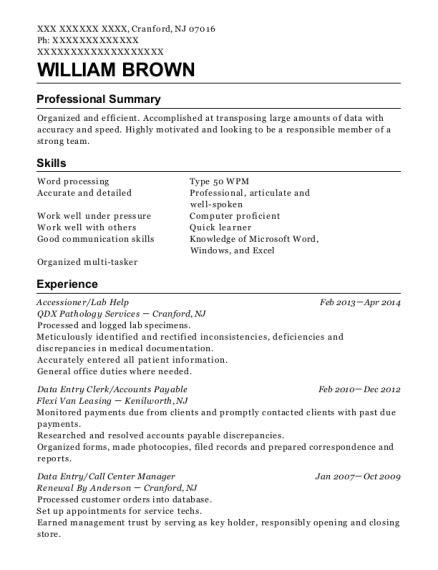 Specimen Of Resume by Best Specimen Accessioner Resumes Resumehelp