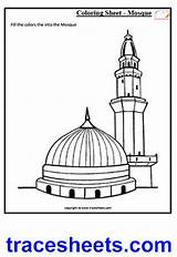Worksheets Masjid Nabvi Coloring Worksheet Culture Islam Islamic Clipart Sheets Pages Writing Mosque Drawing Cliparts Kaaba Clip Awareness Trace Activities sketch template