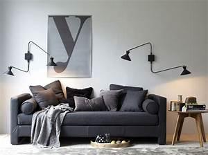idee deco salon canape noir affordable canape rouge et With tapis yoga avec canapé convertible clermont ferrand