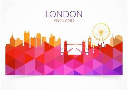 London Cityscape Abstract Colorful Geometric Skyline England