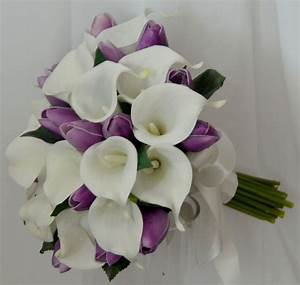 white calla lily/ purple tulip bouquet   Haines Wedding ...