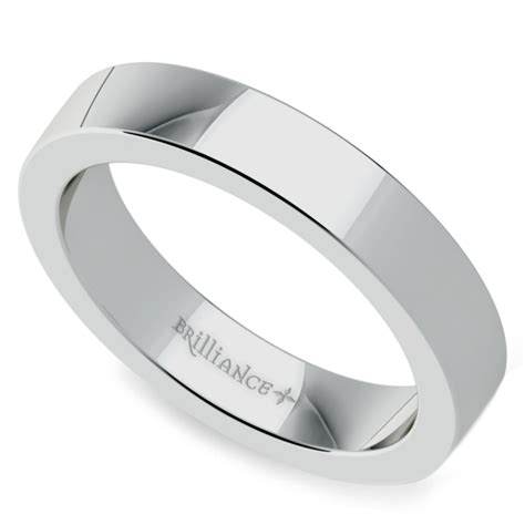 flat s wedding ring in white gold 4mm