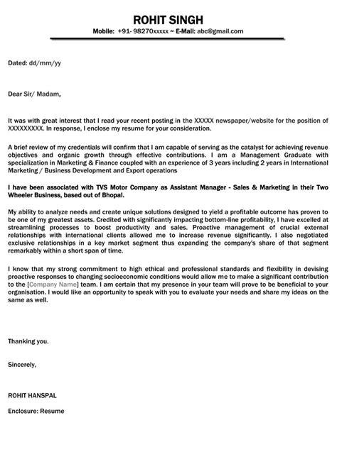Naukri Sle Resumes by Cover Letter Sle Resume Cover Letter Format Naukri
