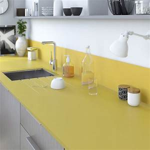 Découpe De Verre Sur Mesure : plan de travail sur mesure verre laqu jaune anis ~ Dailycaller-alerts.com Idées de Décoration