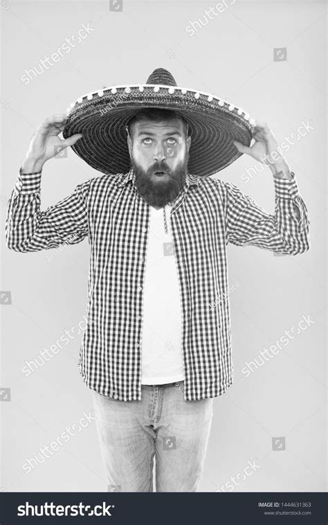 Celebrate mexican holiday. Mexican bearded guy ready to ...