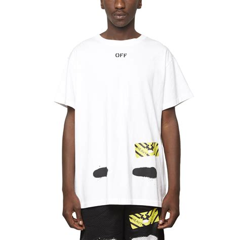 white c o virgil abloh diagonals spray t shirt in
