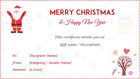 christmas  year gift certificate templates