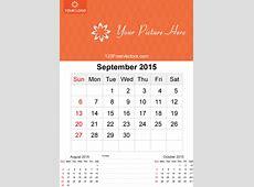 September 2015 Calendar Template Vector Free 123Freevectors